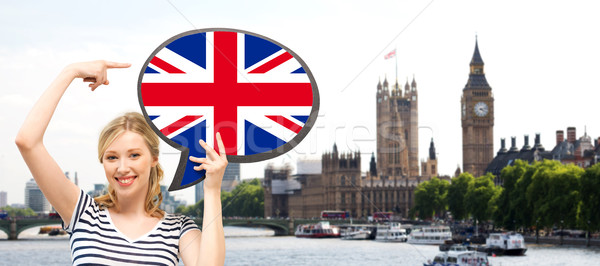 woman with text bubble of british flag in london Stock photo © dolgachov
