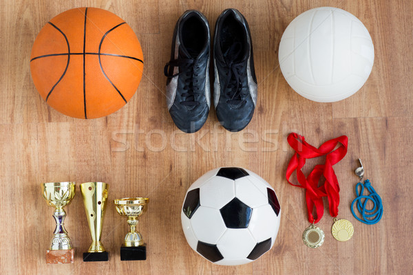 sports balls, boots, cups, whistle and medals Stock photo © dolgachov