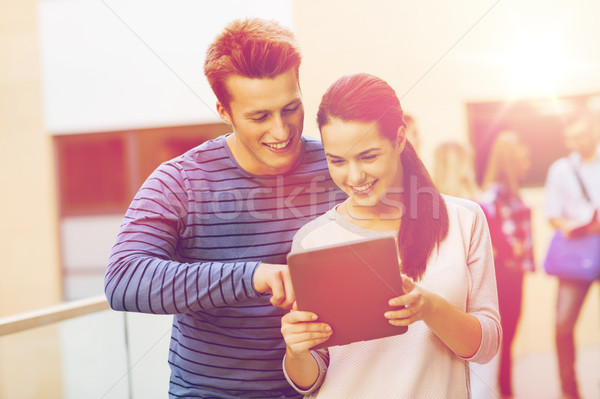 Stock photo: group of smiling students tablet pc computer