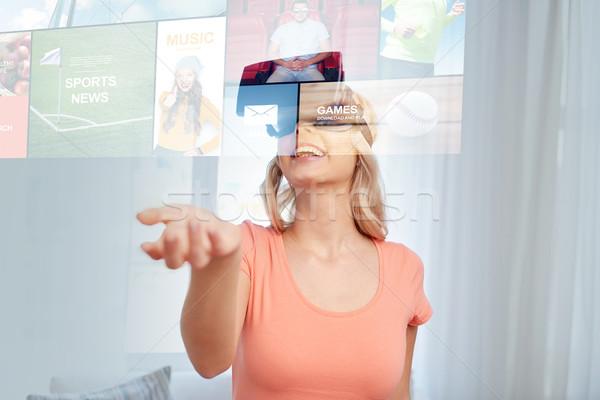 Foto d'archivio: Donna · virtuale · realtà · auricolare · occhiali · 3d · tecnologia