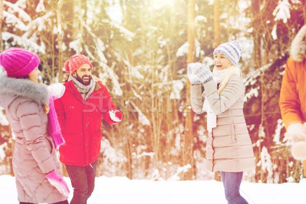 Feliz amigos jogar bola de neve inverno floresta Foto stock © dolgachov