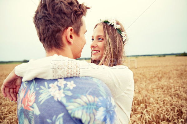 happy smiling young hippie couple outdoors Stock photo © dolgachov