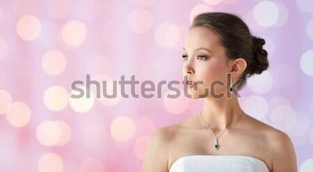 美人 ダイヤモンド イヤリング 美 宝石 休日 ストックフォト © dolgachov