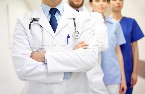 Közelkép orvosok kórház folyosó klinika hivatás Stock fotó © dolgachov