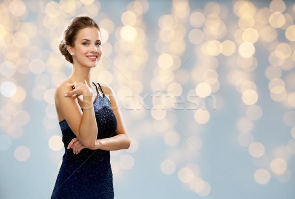 Sorrindo vestido de noite luzes pessoas férias glamour Foto stock © dolgachov