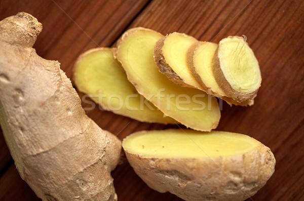 Jengibre raíz mesa de madera ciencia culinario Foto stock © dolgachov