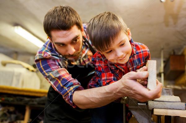 отец мало сын древесины доска семинар Сток-фото © dolgachov