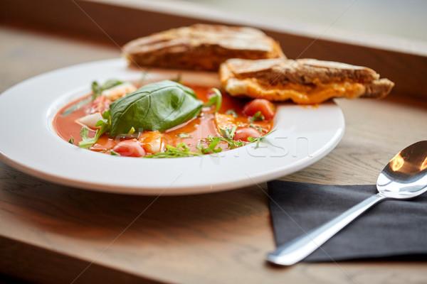 plate of delicious gazpacho soup at restaurant Stock photo © dolgachov