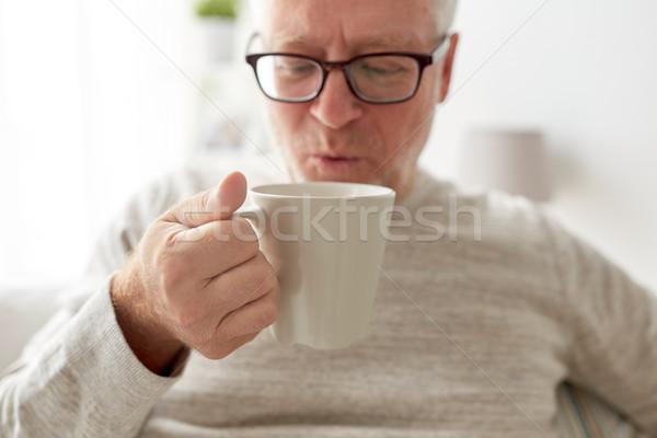 Stockfoto: Gelukkig · senior · man · drinken · thee · koffie
