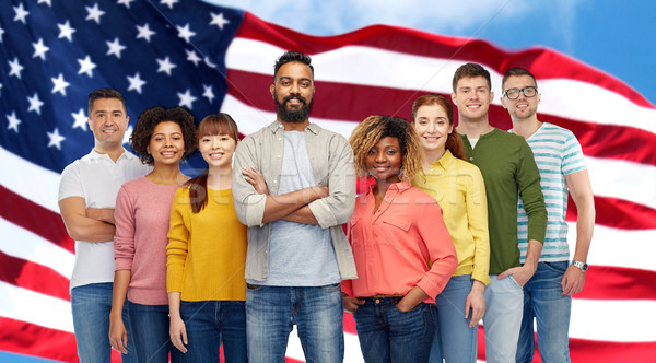 international group of people over american flag Stock photo © dolgachov