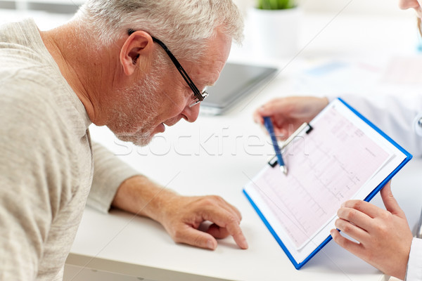 doctor showing cardiogram to old man at hospital Stock photo © dolgachov