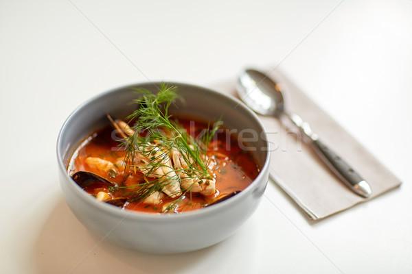 Tengeri hal leves hal kék tál étel Stock fotó © dolgachov