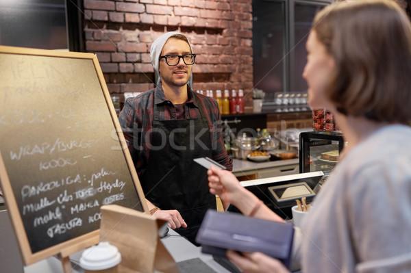 バーテンダー 女性 クレジットカード カフェ 中小企業 ストックフォト © dolgachov