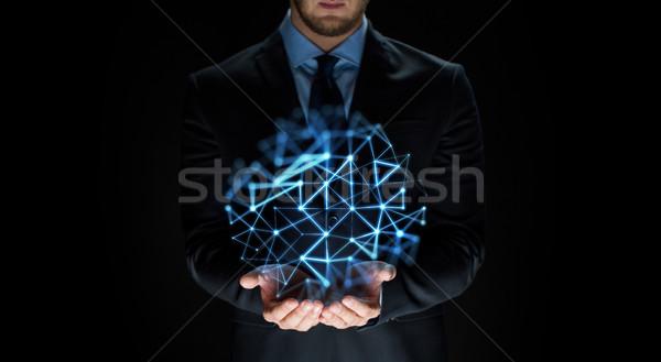 Zakenman netwerk projectie business virtueel Stockfoto © dolgachov