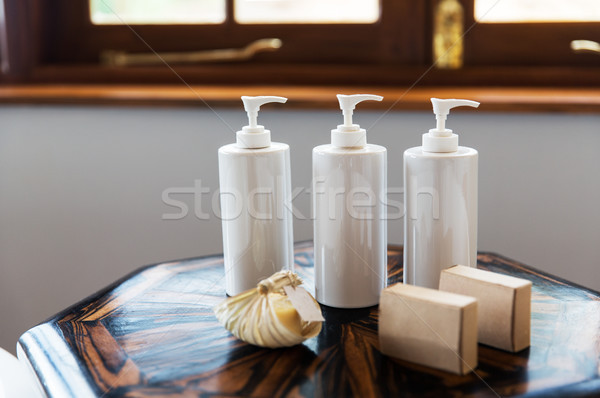 bottles with liquid soap or lotion at spa Stock photo © dolgachov