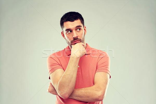 Hombre pensando gris dudar personas empresario Foto stock © dolgachov