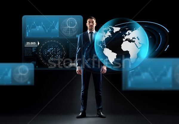 Empresário terra globo holograma preto pessoas de negócios Foto stock © dolgachov
