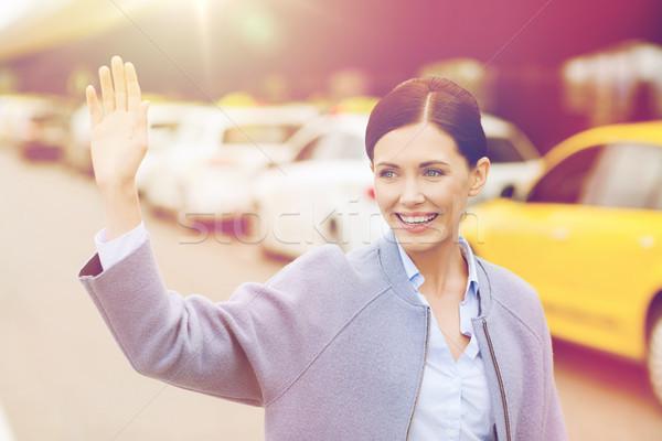 Сток-фото: улыбаясь · стороны · такси · путешествия