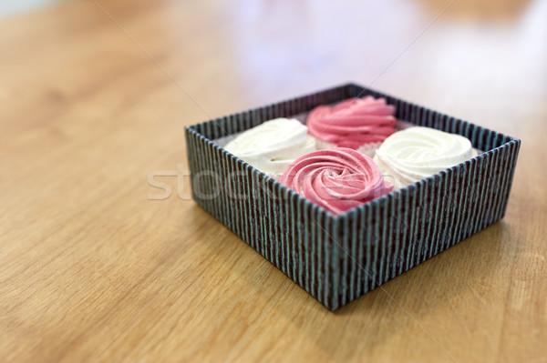 zephyr or marshmallow dessert in gift box Stock photo © dolgachov
