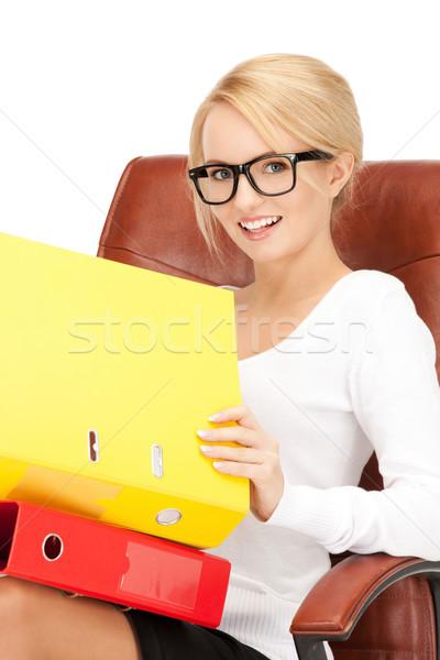Giovani imprenditrice cartelle seduta sedia foto Foto d'archivio © dolgachov