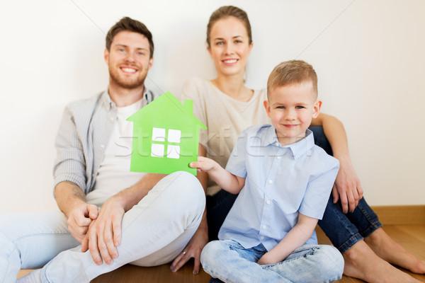 счастливая семья теплица движущихся новый дом ипотечный люди Сток-фото © dolgachov