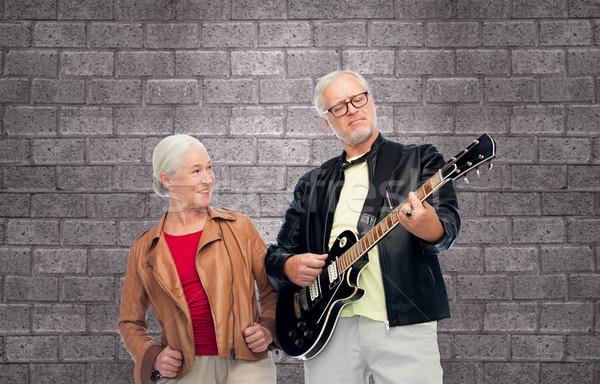Stock fotó: Boldog · idős · pár · elektromos · gitár · zene · kor · emberek