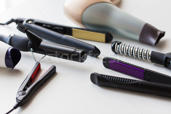 hot styling and curling irons with hairdryers Stock photo © dolgachov