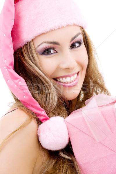 Boldog mikulás segítő ajándék doboz kép arc Stock fotó © dolgachov