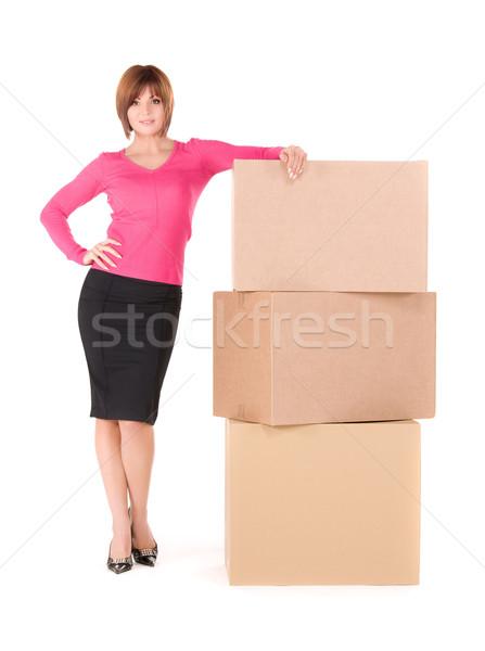 businesswoman with boxes Stock photo © dolgachov