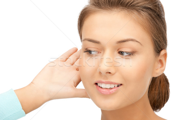 женщину прослушивании сплетни ярко фотография Сток-фото © dolgachov