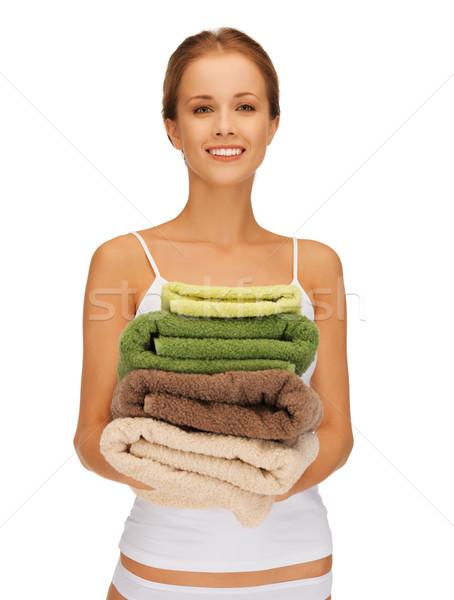 Donna asciugamani luminoso foto ragazza felice Foto d'archivio © dolgachov