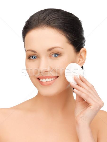 Güzel bir kadın pamuk parlak resim kadın yüz Stok fotoğraf © dolgachov