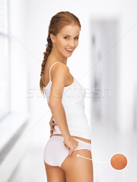 Kadın büyüteç selülit resim mutlu Stok fotoğraf © dolgachov