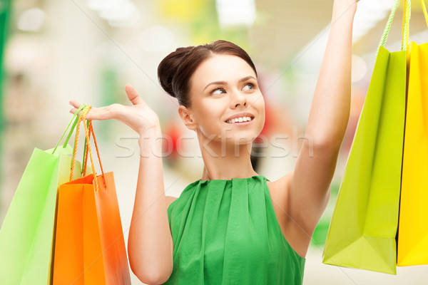 Foto stock: Quadro · mulher · feliz · compras