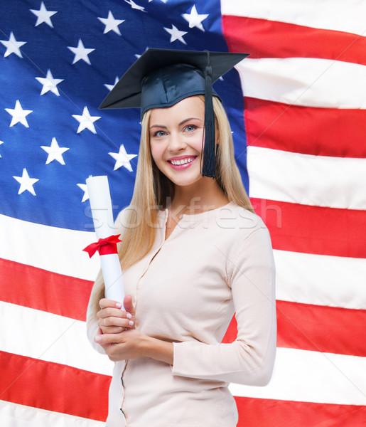 Stock fotó: Diák · érettségi · sapka · bizonyítvány · boldog · amerikai · zászló