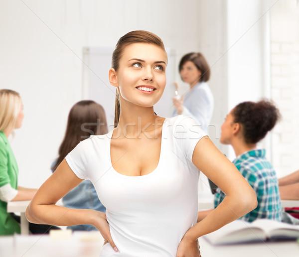 étudiant fille blanche tshirt école éducation Photo stock © dolgachov