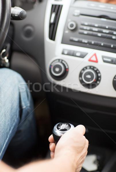 man shifting the gear on car manual gearbox Stock photo © dolgachov