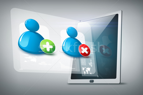 tablet pc with contact icons Stock photo © dolgachov