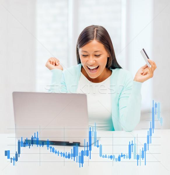 Kobieta laptop karty kredytowej forex wykres bankowego Zdjęcia stock © dolgachov