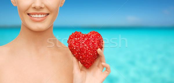 женщину красный сердце здоровья красоту благотворительность Сток-фото © dolgachov