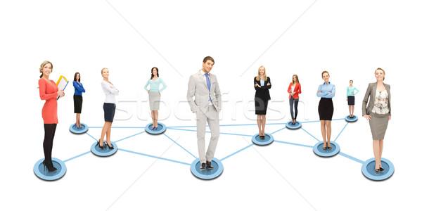 социальной Бизнес-сеть бизнеса сетей человека женщины Сток-фото © dolgachov