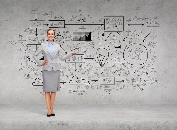 Kobieta interesu duży plan konkretnych ściany Zdjęcia stock © dolgachov