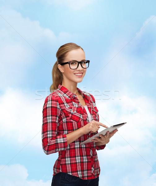 Souriant fille lunettes ordinateur technologie Photo stock © dolgachov