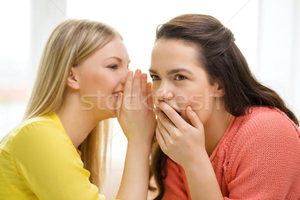 Egy lány másik titok barátság pletyka boldogság Stock fotó © dolgachov