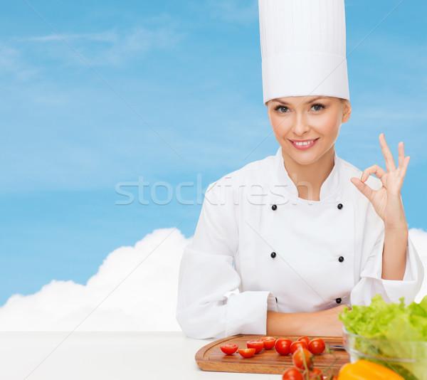 Stock fotó: Női · szakács · zöldségek · mutat · ok · felirat