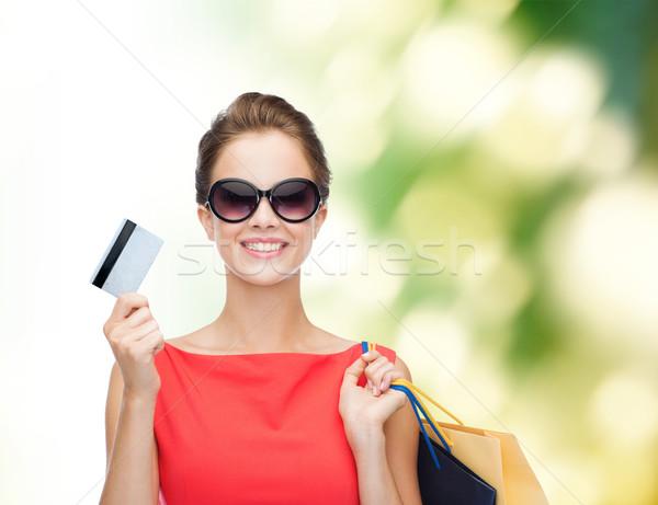 ストックフォト: 笑顔の女性 · ショッピングバッグ · プラスチック · カード · ショッピング · 販売