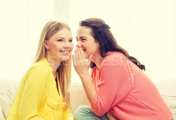 Uma menina outro segredo amizade fofoca felicidade Foto stock © dolgachov