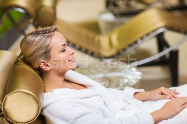Gyönyörű fiatal nő ül fürdőkád köntös fürdő Stock fotó © dolgachov