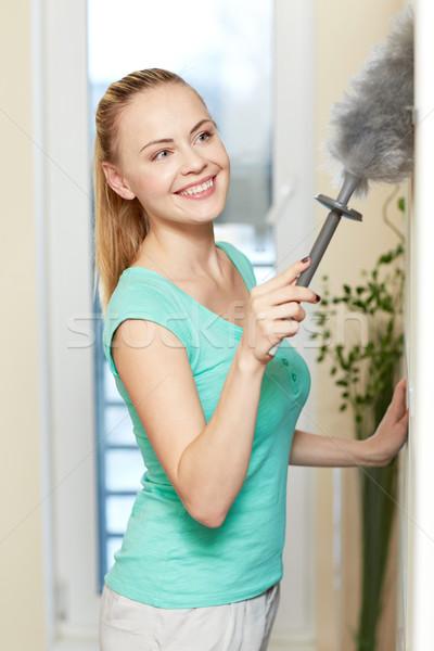 Boldog nő takarítás otthon emberek házimunka Stock fotó © dolgachov