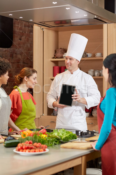 happy women with chef and tablet pc in kitchen Stock photo © dolgachov